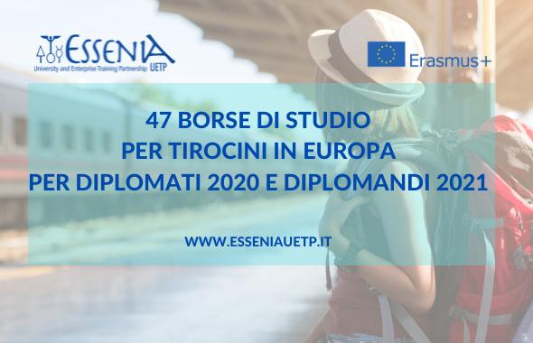 Tirocini in Europa per diplomati 2020 e 2021 - Programma Erasmus+